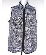 Jones NY Snow Leopard Print Vest Plus Size 1X Black White Zip Up Quilted... - $31.88