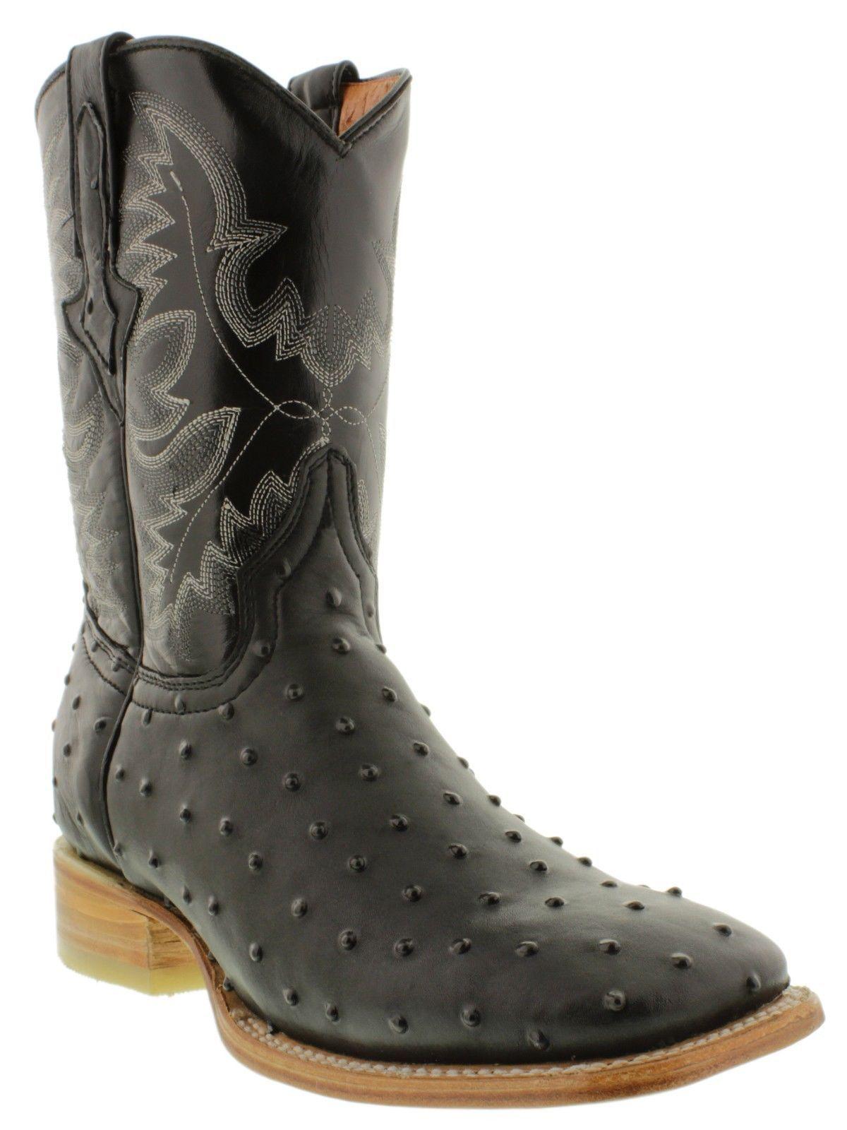 abb4de033d71 S l1600. S l1600. Previous. Mens Black Exotic Ostrich Leather Western  Cowboy Rodeo Boots Tan Sole