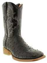Mens Black Exotic Ostrich Leather Western Cowboy Rodeo Boots Tan Sole - £75.40 GBP