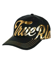 True Religion Men's Gold Metallic Script Print Strapback Baseball Hat TR2666T image 2
