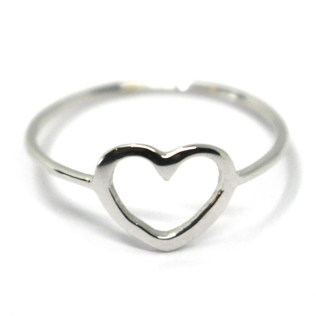 SOLID 18K WHITE GOLD HEART LOVE RING, 10mm DIAMETER FLAT HEART CENTRAL, SMOOTH