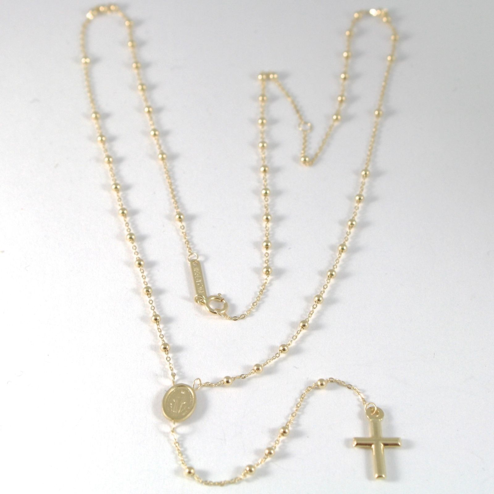 NECKLACE ROSARY YELLOW GOLD 750 - 18K MEDAL MIRACULOUS, CROSS, 47 CM, ITALY