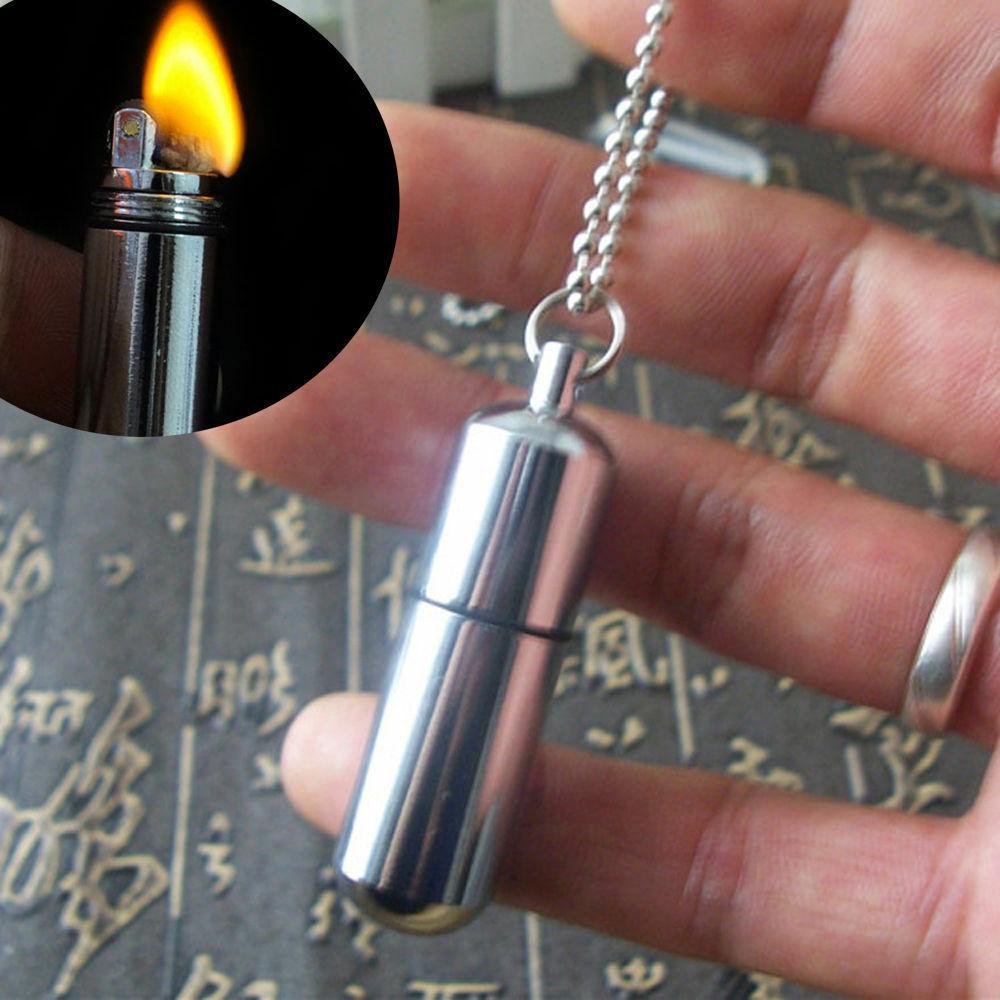 Keychain Waterproof Fire Starter Capsule Oil Gas Lighter