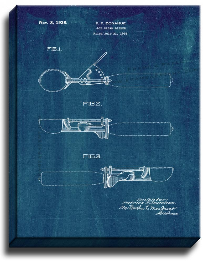Primary image for Ice Cream Scooper Patent Print Midnight Blue on Canvas