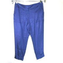 Ann Taylor Loft Jogger Pants Women Size 12 Purple Shiny Elastic Ankle Po... - $14.84