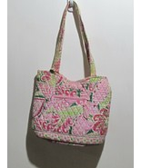 Vera Bradley BAG Petal Pink Green Paisley Shoulder TOTE w Wallet - $19.79
