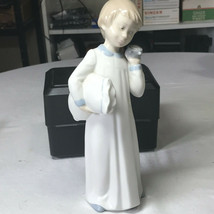 "Zaphir  Porcelain Figure Boy With Clock and Pillow 10"" Tall - $12.50"