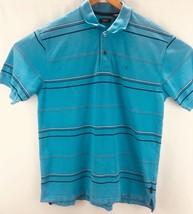 Izod Mens Size MediumBlue Stripped Short Sleeve  Polo Shirt - $13.40