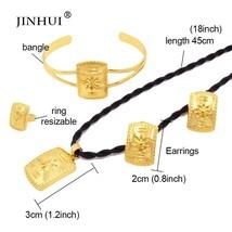 Jewelery sets Necklace earrings Ring bracelets set gold color jewelry se... - $22.35