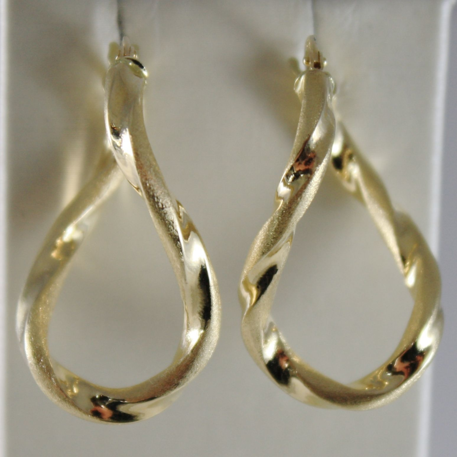 18K YELLOW GOLD TWISTED EARRINGS SATIN & BRIGHT OVAL DROP 28 MM MADE IN ITALY
