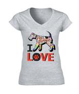 Fox terrier 2 - I love c - NEW COTTON GREY LADY TSHIRT - $20.75