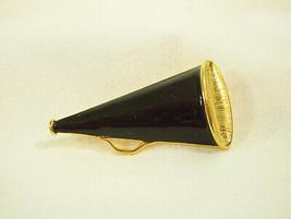 MEGAPHONE CHEER LEADER BLACK ENAMEL GOLD PLATE BROOCH PIN BULLHORN COLLE... - $14.84