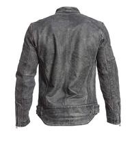 Mens Retro Motorcycle Cafe Racer Rider Distressed Black Biker Leather Jacket image 4