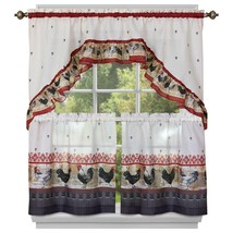 """Kitchen Curtains Tier (57"""" x 36"""") & Swag (57"""" x 30"""") Set, ROOSTER by Achim - $15.83"""
