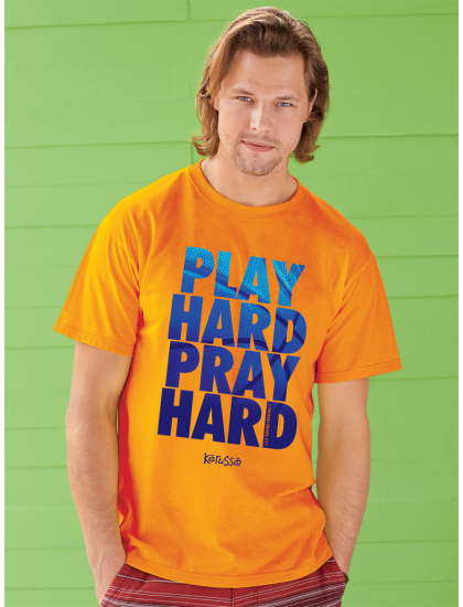 """Christian Mens T-Shirt """"PLAY HARD"""" by Kerusso - NEW"""