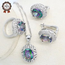 Silver Color Jewelry Set for Women Rainbow Cubic Zirconia Hoop Earrings Necklac - $28.40