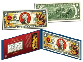 Chinese Zodiac YEAR OF THE DRAGON Colorized $2 Bill US Legal Tender Luck... - $13.81