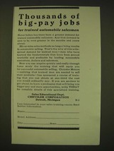 1931 Chrysler Corporation Ad - Thousands of big-pay jobs - $14.99