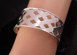 Vintage Sterling Cuff - Lattice design bracelet - silver cross hand wrou... - $110.00