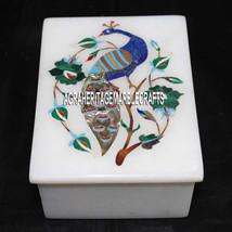 "4""x3""x2'' White Marble Trinket Box Malachite Floral Inlay Peacock Art Decor Gift - $165.17"