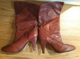 Vintage Zodiac Leather Boots Heels All Red Mid Calf Womens Size 8.5 912150 - $49.45