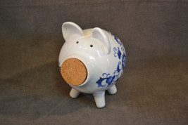 Blue and White Ceramic Piggy Bank Pig Cork Flowers Floral - $12.19