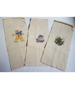 Set Of 3 Burlap Style Christmas wine Bags • gingerbread cookie, snowman ... - $14.95