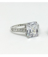 US 5 Emerald Cut Solitaire Diamond Simulant Classic Engagement Statement... - $89.99