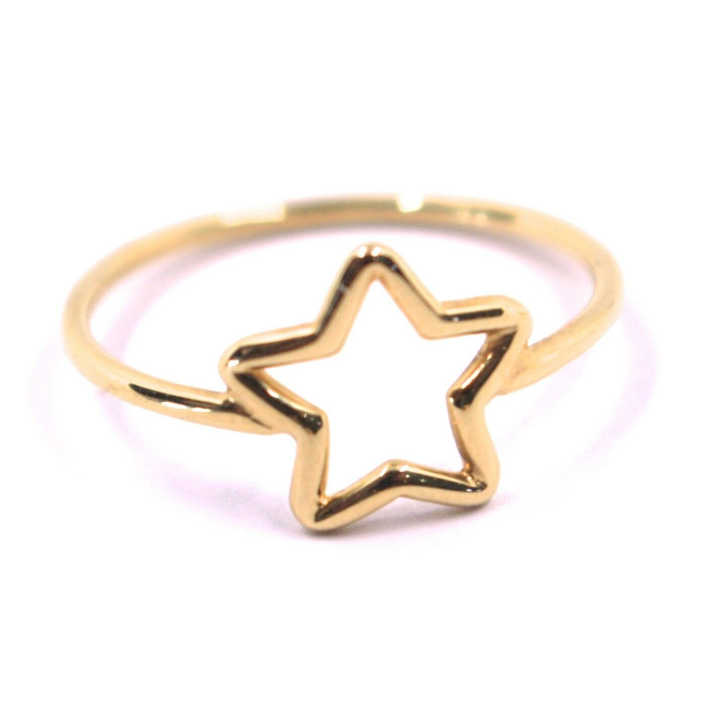 SOLID 18K ROSE GOLD STAR RING, 10mm DIAMETER STAR CENTRAL, MADE IN ITALY