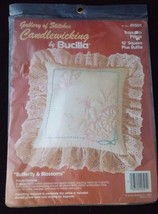 Vintage Butterfly & Blossoms Candlewicking By Bucilla Trapunto Pillow Craft Kit - $15.80