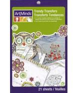 Art Minds Trendy Heat Iron On Transfers Owl Robot Flower Birds Sports An... - $7.92