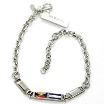 925 STERLING SILVER BRACELET ALTERNATE GLAZED NAUTICAL FLAGS, DIAMOND CUT CHAIN image 1