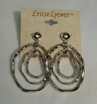 Erica Lyons Dangle Earrings Silver Silvertone Fashion Jewelry Hoops New - $9.21