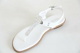 New In Box Michael Michael Kors Mk Logo Plate Signature Thong Sandal White - $65.94