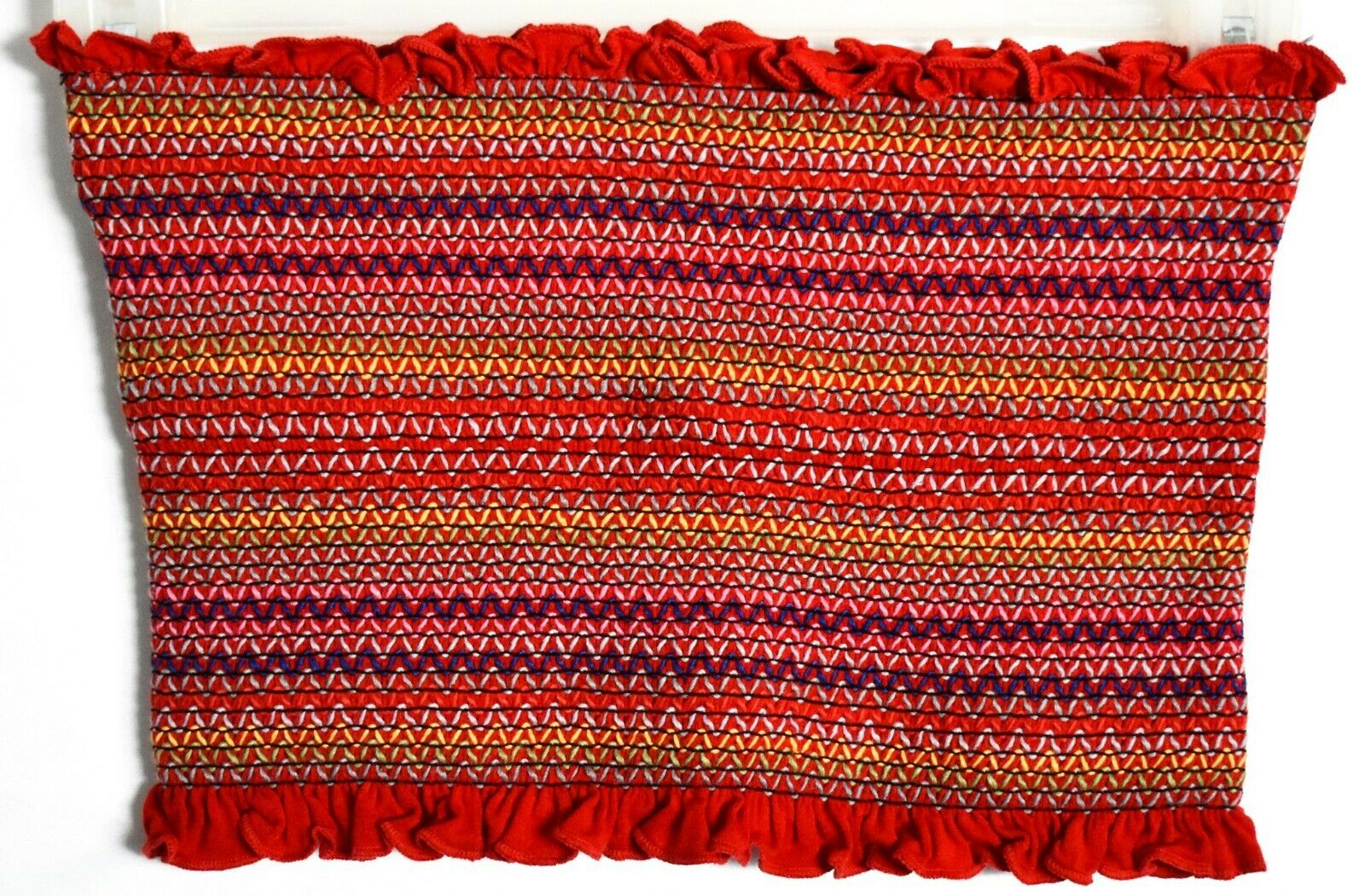 Forever 21 Red Ruffle Colorful ZigZag Striped Smocked Strapless Tube Top Sz S