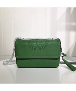 Tory Burch FLEMING DISTRESSED CONVERTIBLE SHOULDER BAG GREEN AUTHENTIC - $329.00