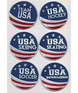 "Team USA 6 Patch Set Embroidered Iron-On Patches Size 2 3/4"". USA Winter... - $32.62"