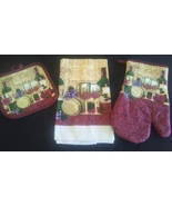 WINE THEME KITCHEN SET 3-pc Potholder Oven Mitt Towel Merlot Grapes Red NEW - $12.99
