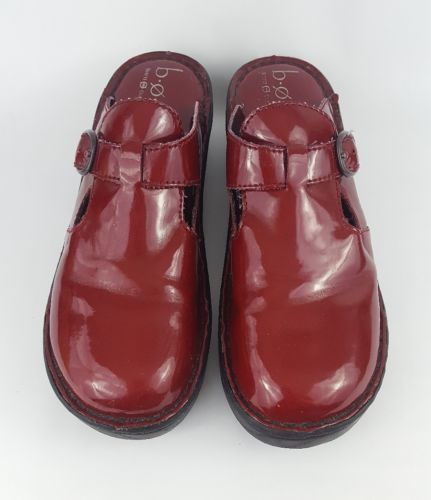 Boc Born Clogs 10 Red Mules Patent Leather Z