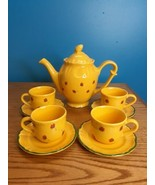 Vintage Varages France Yellow w/ red floral accents tea pot cup plate se... - $74.25