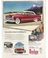1953 Dodge Automobile Print Ad Action Car for Active Americans Snowcap M... - $12.69