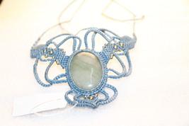 Macrame Necklace Pendant Jewelry Aventurine Cord Handmade Bohemian 132 - $15.00