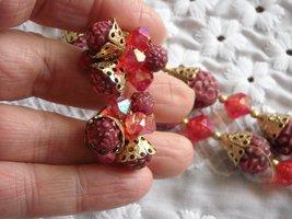 Vintage Two Strand Necklace & Earrings Aurora Borealis Plastic Beads Rasberry image 3