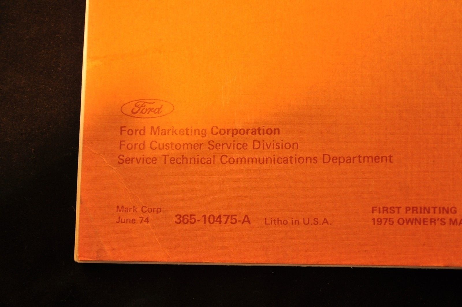 Vintage 1975 Ford Torino Owners Manual VGC