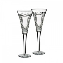 WATERFORD Crystal Wedding Toasting Flute Pair Hearts New # 162833 Love - $176.72