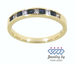 Zaffiro Blu Taglio Princess Gemma 14K Oro Giallo 0.31CT Diamante Natural... - $1,214.86