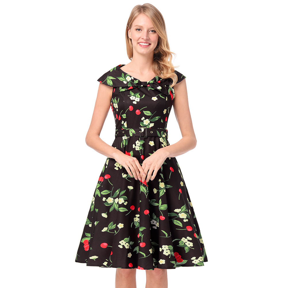 AOVEI Black Cherry Print Vintage 1950s A Line Beach Party Pleated Swing Dress - $24.99