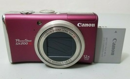 Canon PowerShot PowerShot SX200 IS 12.1MP Digital Camera - Pink Red *FINE* - $24.74