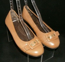 Aerosoles 'Becade' brown leather round toe buckle slip on low wedge flats 8M - $32.27