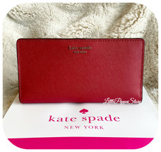 KATE SPADE LEATHER CAMERON LARGE SLIM BIFOLD WALLET IN ROSSO - $58.29
